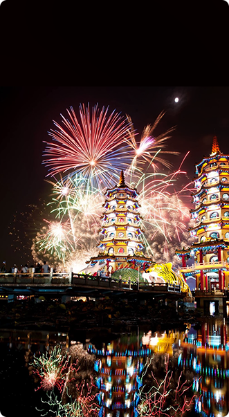 Firework Show in Dragon and Tiger Pagodas, Lotus Pond, Kaohsiung